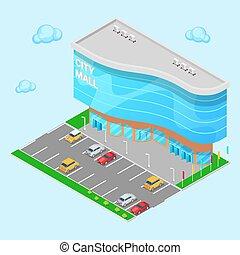 建物, 都市, 等大, ショッピングセンター, mall., 現代, zone., イラスト, ベクトル, 駐車