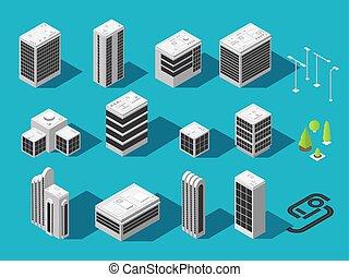 建物, 都市, 等大, セット, 地図, ベクトル, 3d
