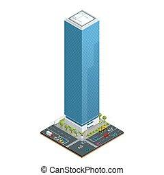 建物, 都市, 等大, 要素, 交差点, illustration., 都市, 自動車, 建築, 道, 隔離された, コレクション, 家, ベクトル, 交通, 道, ライト, 構成, 家