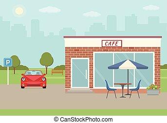 建物, 都市, 駐車, カフェ, バックグラウンド。