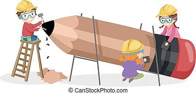 建物, 鉛筆, 子供, stickman, イラスト