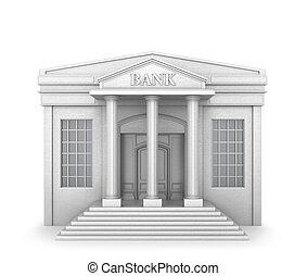 建物。, 銀行, イラスト, 3d