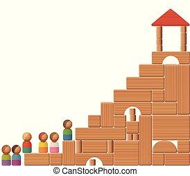建物, 階段, ブロック, 成功