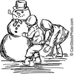 建物, 雪だるま, スケッチ, 隔離された, イラスト, 2, ライン, ベクトル, 黒い背景, 引かれる, 白, 手, 子供