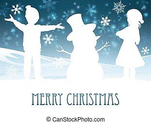 建物, 雪だるま, 現場, クリスマス, 子供
