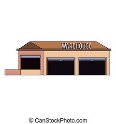 建物, 青いライン, 貯蔵, 隔離された, 倉庫, 空