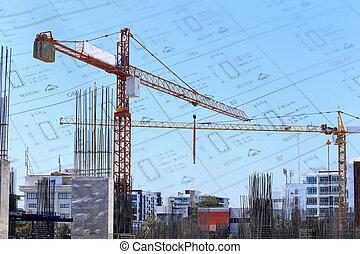 建物, 青い空, サイト, 建設, 下に, クレーン