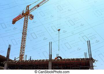 建物, 青い空, サイト, 建設, 背景, 下に, クレーン, 図画