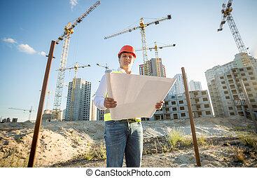 建物, 青写真, サイト, 点検, hardhat, エンジニア