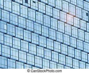 建物, 青, オフィス, 壁, 現代, 細部, ガラス