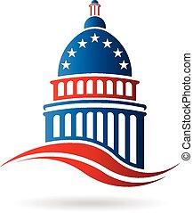 建物, 青, 白, 国会議事堂, 赤