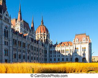 建物, 青, 議会, 打撃, kossuth, ハンガリー人, sky., ゆとり, 日当たりが良い, square., 歴史的, lajos, 日, 光景