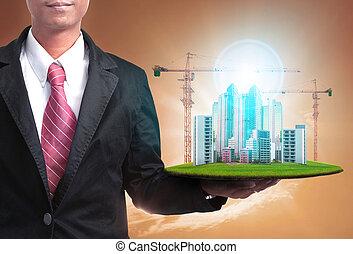 建物, 高く, 土地, 財産, ビジネス, プロジェクト, 建設, 開発, 実質, 人