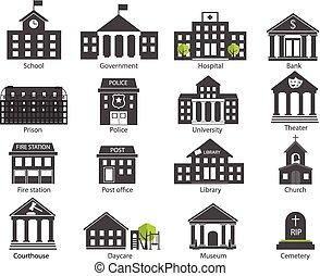 建物, 黒, セット, 政府, 白, アイコン