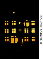 建物, 3階建てである, 窓, シルエット, 明るい, 住宅の