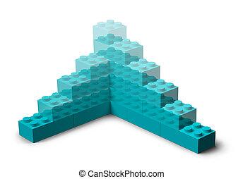 建物, 3d, プロジェクト, おもちゃのブロック, 上昇