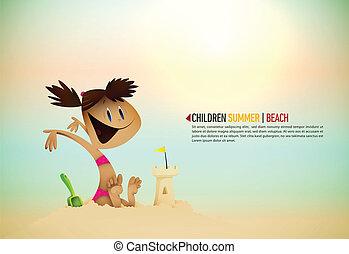 建物, beachl, わずかしか, 日当たりが良い, |, 砂, 海岸, 城, 女の子