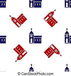 建物, church., パターン, 教会, 赤, アイコン, 隔離された, ベクトル, 白, 青, seamless, イラスト, バックグラウンド。, 宗教, キリスト教徒