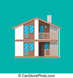 建物, countrysdie, 家族, 木製である, 郊外, house.