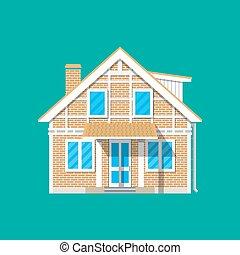 建物, countrysdie, 家族, 郊外, house., れんが