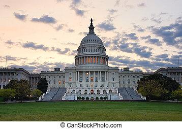 建物, dc., 国会議事堂, カラフルである, ワシントン, 朝, クローズアップ, 丘, 雲