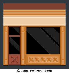 建物, facade., 店, ベクトル, 衣服