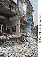 建物, half-destroyed, セクション, 部屋