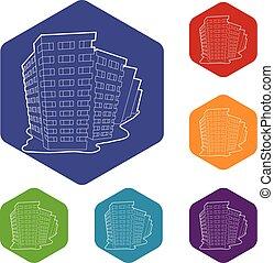 建物, hexahedron, ベクトル, アイコン