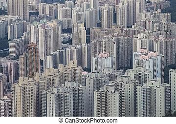 建物, hong, アパート, パターン, kong, living.
