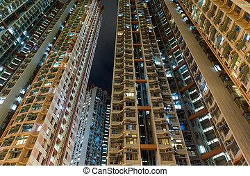 建物, hong, アパート, kong