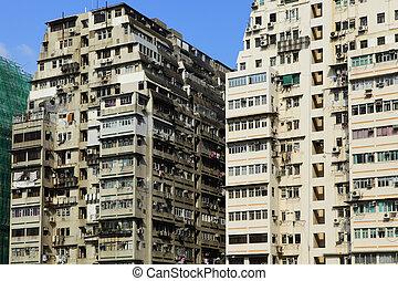 建物, hong, 古い, kong