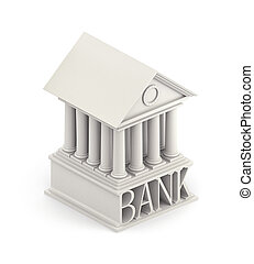建物, icon., 銀行, イラスト, 3d