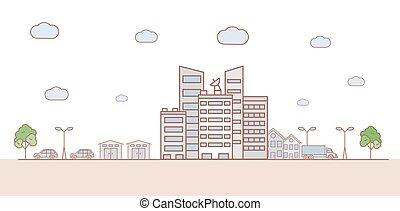 建物。, illustration., 都市の景観, オフィス, 都市, 都市 景色, ベクトル, 自動車, 通り, 漫画, アウトライン, スカイライン