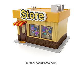 建物, illustration:, 3d, store.