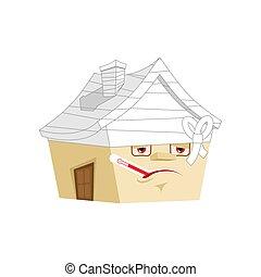 建物, isolated., 家, 病気, 漫画, ベクトル, 病気, 温度計, 家, 包帯をされた, style.