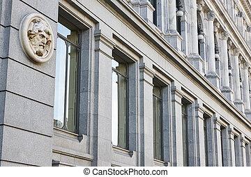 建物, madrid., 歴史的, ファサド, spain., ヨーロッパ, 銀行, 経済