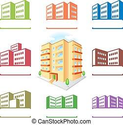 建物, multistoried, サイト, アイコン