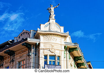 建物, presernov, 広場, 古い 都市, 像, ljubljana
