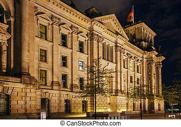 建物, reichstag, ドイツ, 夜, ベルリン