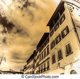 建物, sepia の 調子, 広場, croce, santa, フィレンツェ