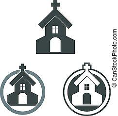 建物, set., ベクトル, 教会, アイコン