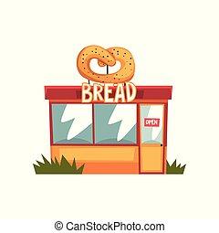 建物, signboar, 店, イラスト, ベクトル, 背景, ファサド, 白パン