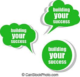 建物, tags., セット, success., ビジネス, ラベル, 旗, テンプレート, infographics, ステッカー, あなたの