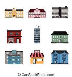 建物, vector., イラスト, アイコン