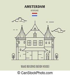 建物, waag, house), (weigh, アムステルダム, ランドマーク, netherlands., アイコン