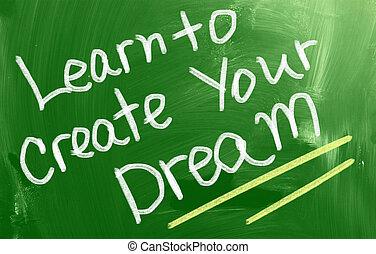 建立, 概念, 夢想, 你, 學習