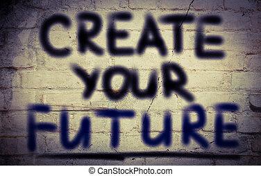 建立, 概念, 未來, 你