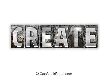 建立, 概念, 被隔离, 金屬, letterpress, 類型