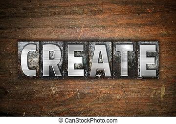 建立, 概念, 金屬, letterpress, 類型