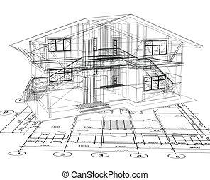 建筑学, 蓝图, 在中, a, house., 矢量